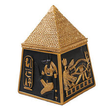EGYPTIAN PYRAMID BOX DEITY GODS TRINKET JEWELRY BOX STATUE BLACK GOLD