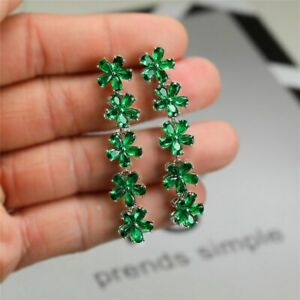 2Ct Pear Cut Green Emerald Diamond Drop & Dangle Earrings 14K White Gold Finish