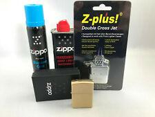 ZIPPO Messing gebürstet Feuerzeug Set + Jet Doppel Flame Einsatz + Gas + Benzin