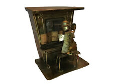 Vintage Brass Copper Metal Saloon Bar Piano Man Figure Wind-up Music Box Wheel.