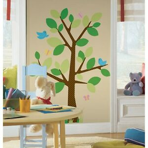 Giant Tree Wall Decals for Nursery Polka Dotted Stickers for Kids Bedroom Green