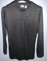 Chicos Jacket Textured Snap Slinky Dark Pewter Gray Womens Size 0 Excellent