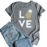 Plus Sizes Summer For Women T-shirt Love Tops Pineapple Print Gray Round Neck To