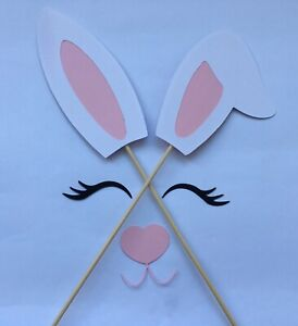 Bunny Ears, Nose and Eyelashes Large Cake decoration Easter Pink and White