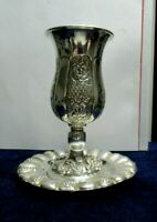 Sterling Silver Goblet, Judaica Kiddush Cup, plus Matching Plate, in 925 Silver