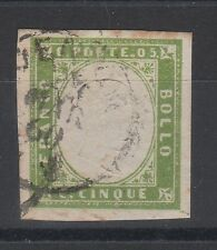 FRANCOBOLLI 1860 SARDEGNA 5 C. VERDE GIALLO BRILLANTE C/7409