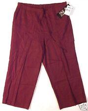 New NWT VS Vintage Studio Linen blend burgundy cargo capris size L, large