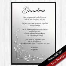Grandma Gift. Personalised Birthday Gift for Grandmother. Keepsake PRINT ONLY