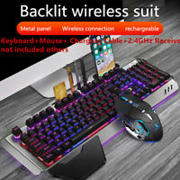 K680 Wireless Charging Gaming Keyboard and Mouse Set Backlight Ergonomic Hot AU