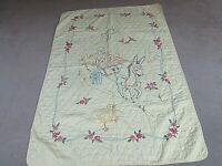"VTG Hand Embroidered Yellow Quilt W/Donkey Pulling Cart with Animals  41"" X 48"""