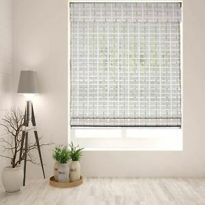 Arlo Blinds Cordless Whitewash Bamboo Roman Shade