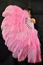 "XL 2 layers pink Ostrich Feather fan 34""x 60"" with Travel leather Bag"