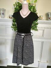 Tantrums women's M black&white polkadot assymetrical flared skirt 10O% polyester