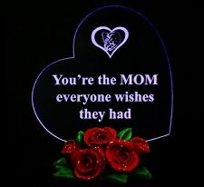 Special Gift for MOM Christmas Gifts for MOTHER'S Heart LED Light w/Rose Base