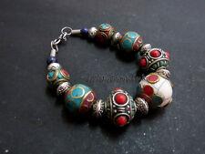 B55 Handmade Fashion ladies multi-color resin stones brass Bracelet Nepal Tibet