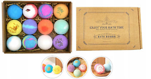 Bath Bombs Balls Sparkling Set 12x60g Gift Scented Makes Skin Refreshed Smooth