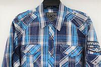 Affliction Black Premium Long Sleeve Button up Shirt Men's Size XL Blue Plaid