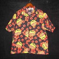Large (L) HAWAIIAN TROPIC Short Sleeve Floral Sun Button Mens Shirt