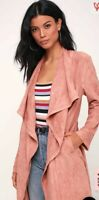 LULUS CITY OF TREES MAUVE PINK SUEDE TRENCH JACKET SUPER SOFT Womens XSMALL