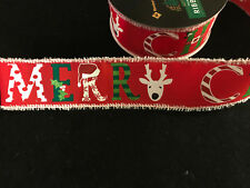 """50 Yards!  Merry Christmas Holiday  Wired Ribbon  2.5"""" Wide Wholesale Lot"""