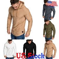 Slim Fit T-Shirt Hooded Tops Mens Hoodie Tee Long Sleeve Muscle Blouse Casual US