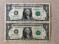 SET of TWO $1 BILL SERIES 2013 REAL US DOLLAR w/ SAME SERIAL NUMBER from 2 FRB's