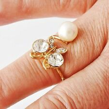 Women Gold Filled Clear CZ Knuckle Above Armor White Imitation Pearl Ring Size 6