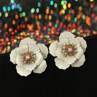 Elegant Women Flowers Pearl Ear Stud Earrings Boho Dangle Charm Ear Jewelry