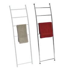 Free Standing Towel Ladder Wall Leaning Drying Rack 4 Bars Metal White or Chrome