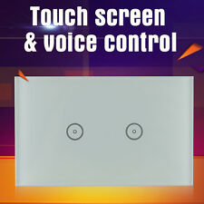 2 Gang LED Glass Touch Screen Wall WIFI Switch Control Light work w/ ALEXA Echo