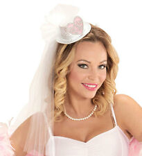 MINI BRIDE TO BE TOP HAT HAIR CLIP with Veil Netting Hen Night Accessory 07066