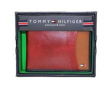 New Tommy Hilfiger Men's Red Leather Billfold Passcase Credit Card ID Wallet