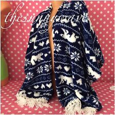 PJ Couture Fleece Fairisle Poncho Sleep Lounge Robe Pajama Cozy Snuggly NWT L/XL