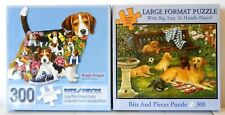 PUZZLE - JIGSAW BITS AND PIECES LOT OF 2 LARGE PIECE 300 PC. DOG PUZZLES - NIP!
