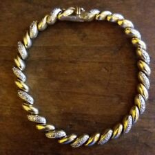 "Ross Simons 7.5"" Gold Vermil Sterling Silver Alternate diamonds and solid links"