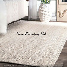 Jute Rag Rug 5 x 8 Ft Braided Floor Reversible Handmade Indian Decorative Carpet
