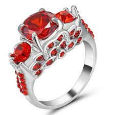 18K white gold Filled Women Girl Fashion Ruby Gemstone Wedding Ring Jewelry