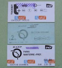 lot - 3 used railway metro tickets Paris - Versailles 2000 - 2017 for collectors