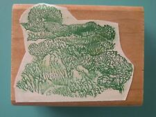 Meadow Landscape Scene, Detailed 100 PROOF PRESS Rubber Stamp