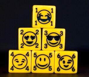 Emoji Dice! D6 Yellow acrylic, Custom dice, 6 sided board game dice!