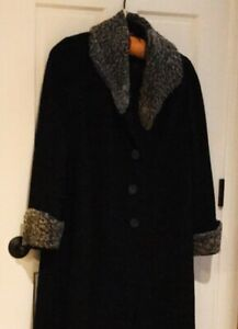 Vintage 40/'s Swing Style Coat ~ Black Wool Topper with Persian Collar