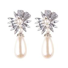 Bohemian Crystal Rhinestones Pearls Earrings Women Drop Ear Stud Dangle Jewelry Silver