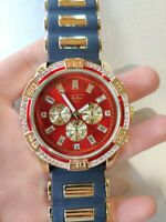 Men Gold Iced Watch Rapper Simulate Lab Diamond Black Rubber Band Luxury Red