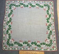 Vintage Cotton Christmas Holiday Hankie Handkerchief Bells Novelty Nos
