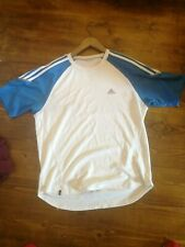 Adidas mens climacool gym/running t-shirt size small white blue
