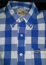 MENS * HOLLISTER * SIZE XL BLUE CHECKED SHIRT -BUTTON DOWN COLLAR -LONG SLEEVES