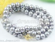 Handmade Genuine 8-9mm Freshwater Gray Pearl Necklace 24''