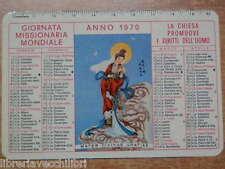 Vecchio calendarietto 1970 Giornata Missionaria Mondiale Pontificie Opere del di