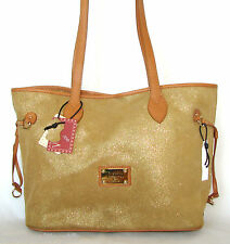NEW-VALENTINA METALLIC GOLD SUEDE+COGNAC LEATHER TRIM E/W TOTE HAND BAG-ITALY