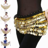 Newest Belly Dance Hip Scarf Pure Color Coin Chiffon Waist Belt Chain Skirt Wrap
